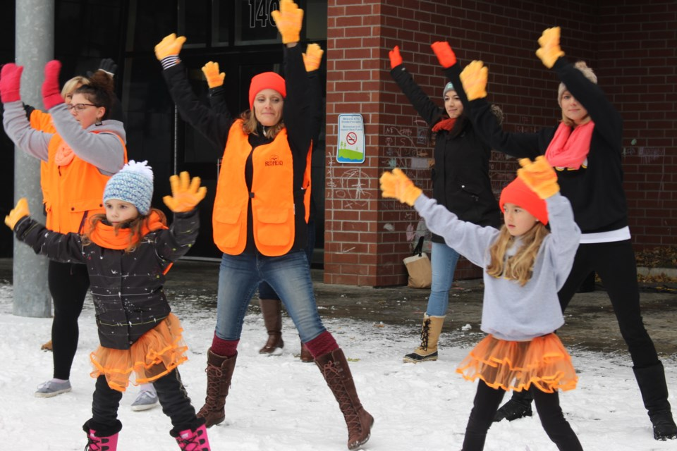 Members of Sudbury's Canadian Mental Health Association (CMHA) were joined by Spotlight Dance Company to bring some warmth to the hearts of onlookers on a cold Sunday morning.(Gia Patil/Sudbury.com)
