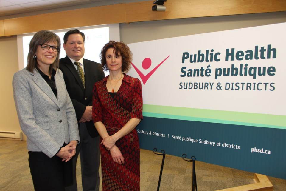 Public Health Sudbury and Districts CEO Penny Sutcliffe, PHSD board vice-chair Jefferey Huska, and PHSD registered dietitian Tammy Cheguis at the unveiling of the newly named Public Health Sudbury and Districts. (Matt Durnan/Sudbury.com)