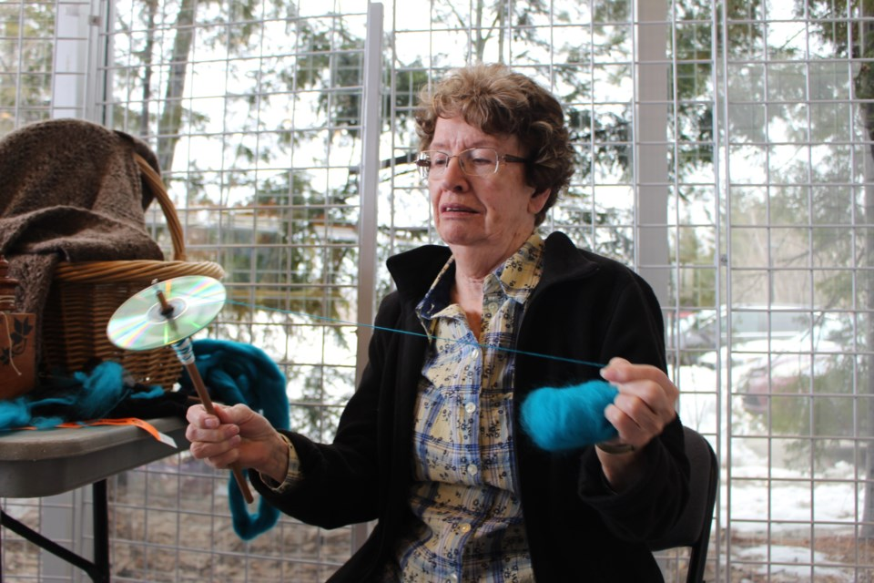 Margo Poitras spins the yarn to promote an old craft from. (Sudbury.com/Gia Patil)