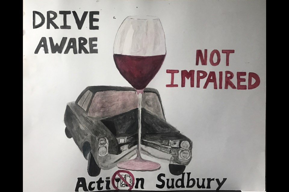Drinking & Driving poster made by Ng Foucault of Confederation High School. (Supplied)