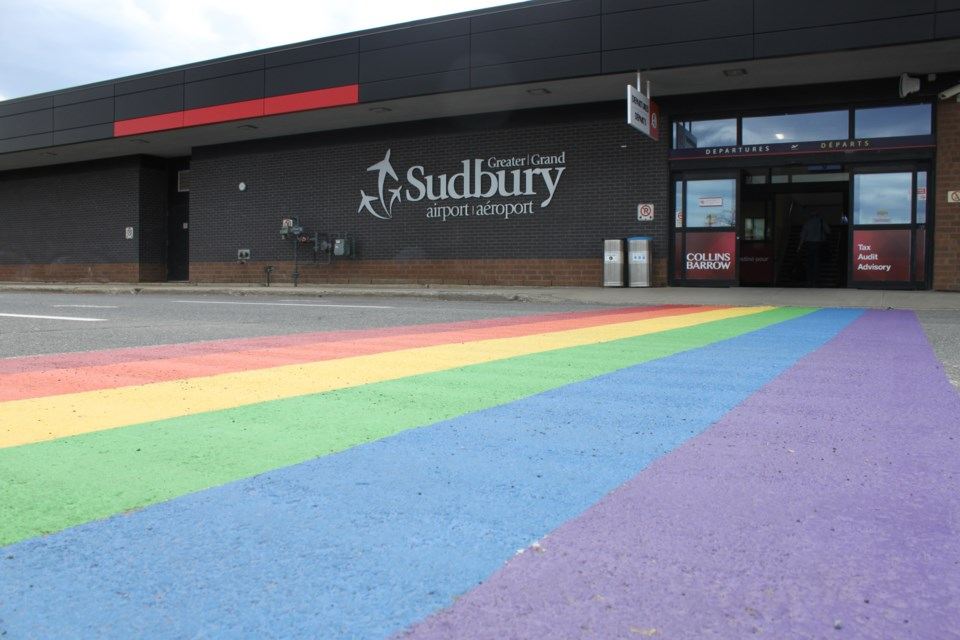 The Greater Sudbury Airport added some colour to their property while displaying their support for Fierté Sudbury Pride Week. (Lindsay Kelly/Northern Ontario Business)