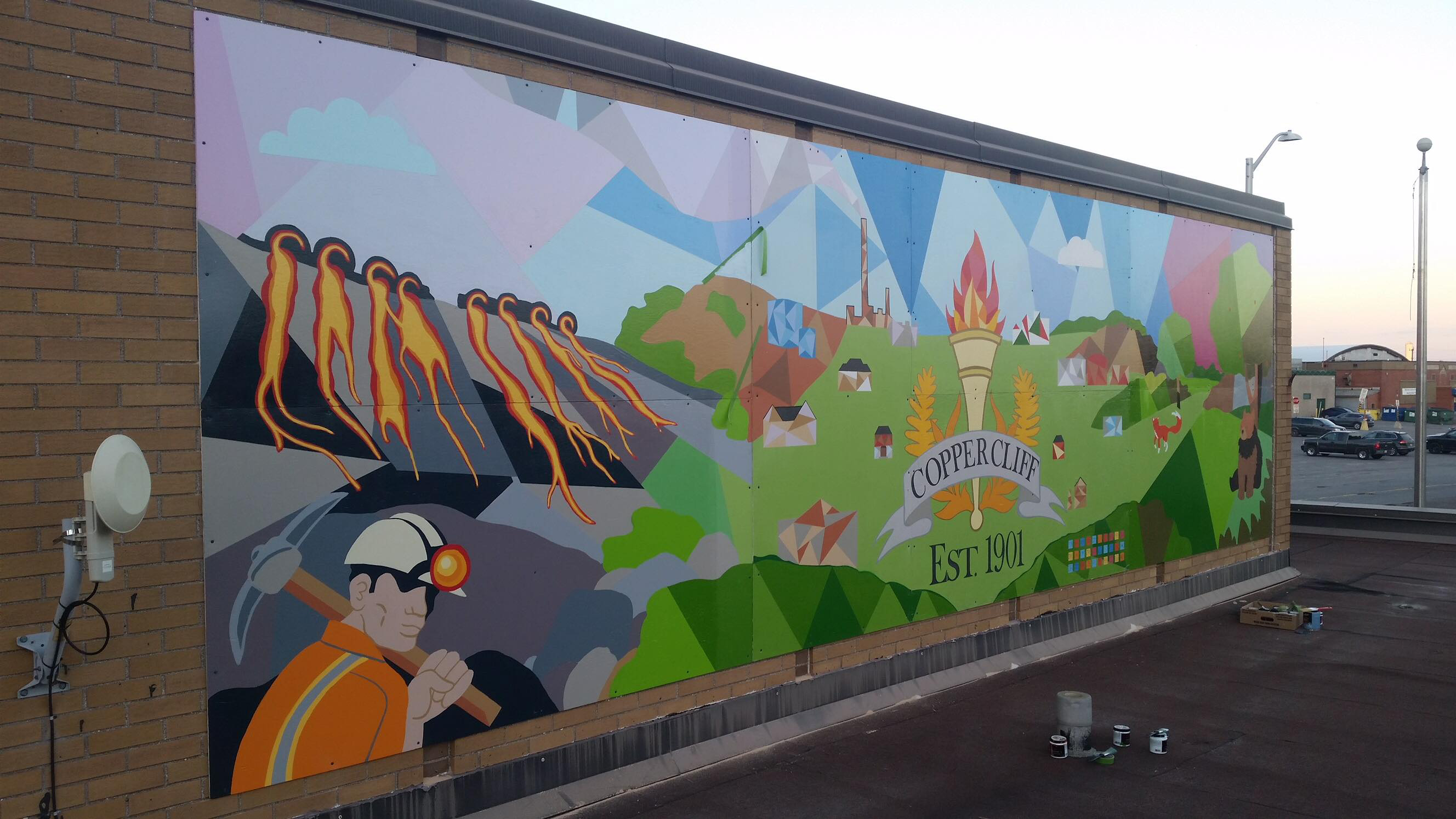 Community comes together to expand copper cliff mural