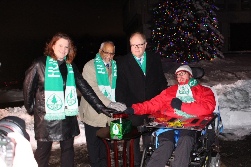 (L to R)  Deanna Chisholm-Tullio, regional independent living manager, March of Dimes Canada, Dr. Rayudu Koka, co-chair of the Moving A-Head campaign, Kevin McCormick, Huntington University president and vice chancellor, Ken Vandeligt from Wade Hampton House. (Matt Durnan/Sudbury.com)
