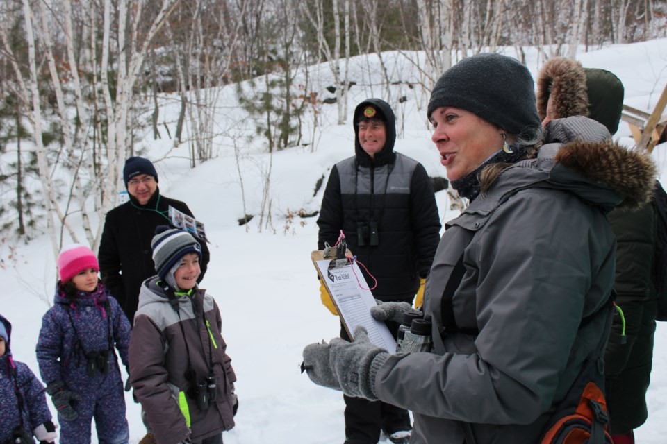 Conservation Sudbury environmental education program manager, Daniela Stewart, leading the lost pelican puffs on the Christmas Bird Count for Kids (Keira Ferguson/ Sudbury.com)