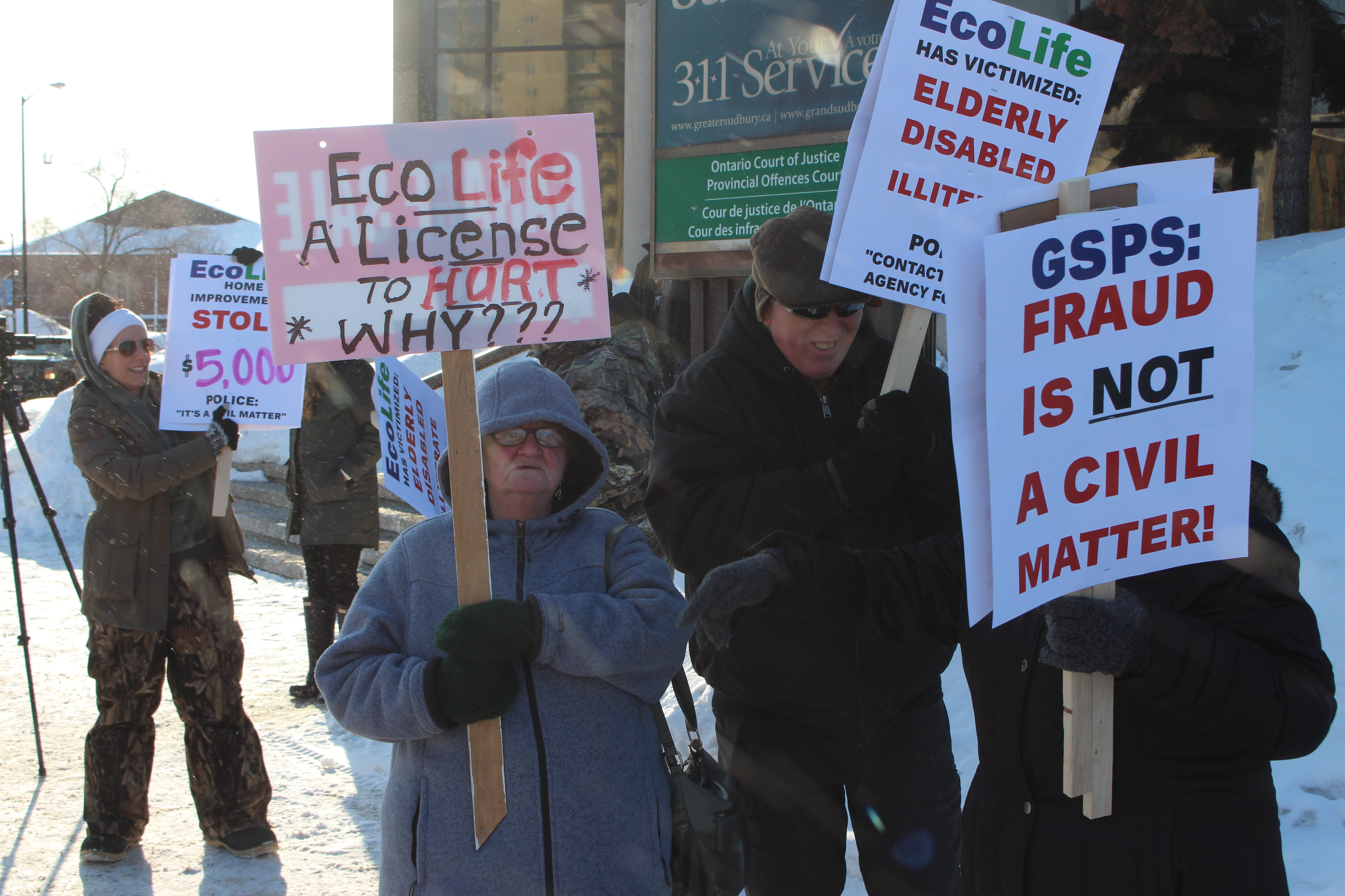 Protesters say something must be done about local home improvement company