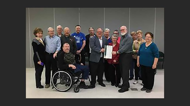 Mayor Brian Bigger proclaims April as Parkinson Awareness Month, at the YMCA Parkside Centre (Supplied)