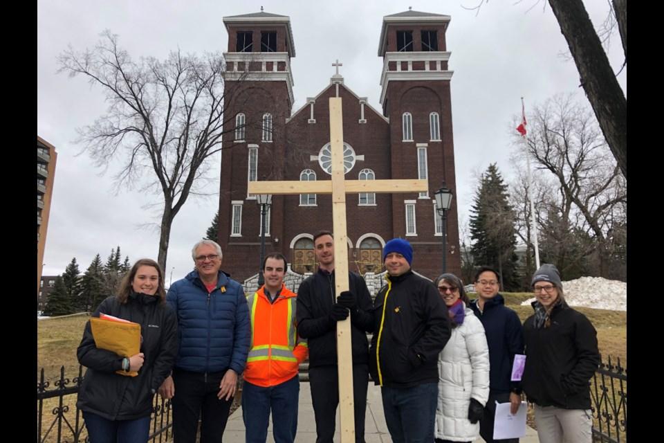 Representatives of the University of Sudbury's St. Ignatius of Loyola Parish, hosting the 2019 Way of the Cross dramatization through Downtown Sudbury (Keira Ferguson/ Sudbury.com)
