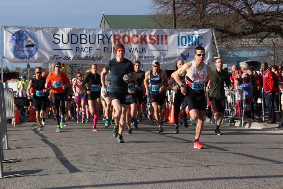 Participants of the 14th annual Sudbury ROCKS!! Race, Run, Walk through Downtown Sudbury (Keira Ferguson/ Sudbury.com)