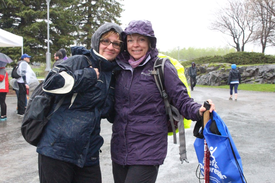 Nancy Quenneville (left) with Lynn Laurin (right) at the 6th annual Defeat Depression Walk at the Grace Hartman Amphitheatre on Saturday.  (Keira Ferguson/ Sudbury.com)