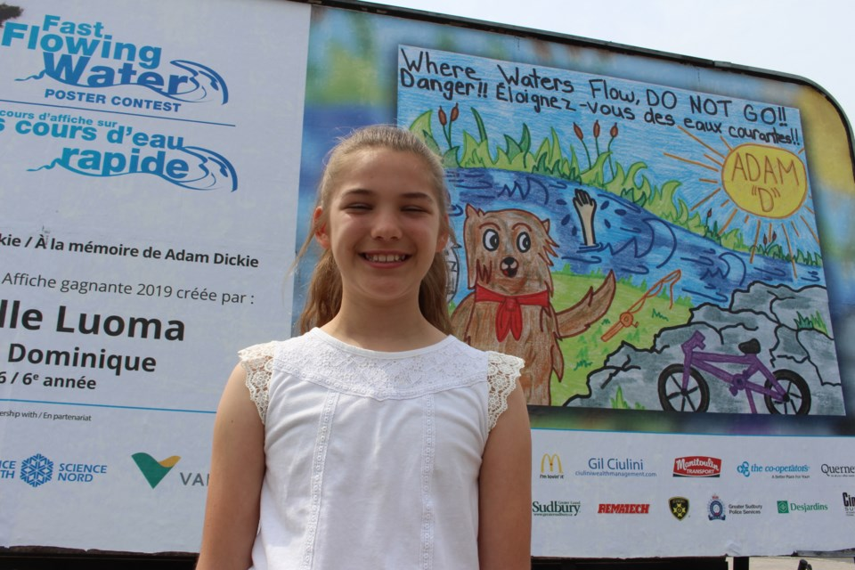 For the second year in a row, Gabrielle Luoma's artwork will help educate Sudburians of the dangers of fast flowing water. The Grade 6 student from École St-Dominique was the overall poster contest winner of this year's Fast Flowing Water Contest. (Heather Green-Oliver/Sudbury.com)