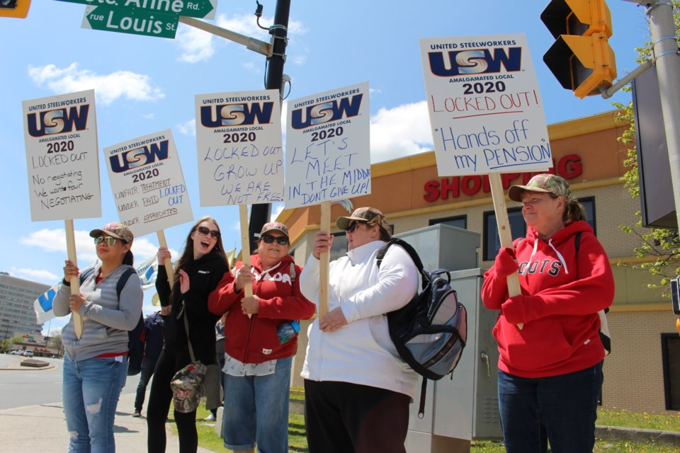 Roughly two dozen people picketed Monday after CarePartners Sudbury employees were locked out of their office on May 31. (Matt Durnan/Sudbury.com)