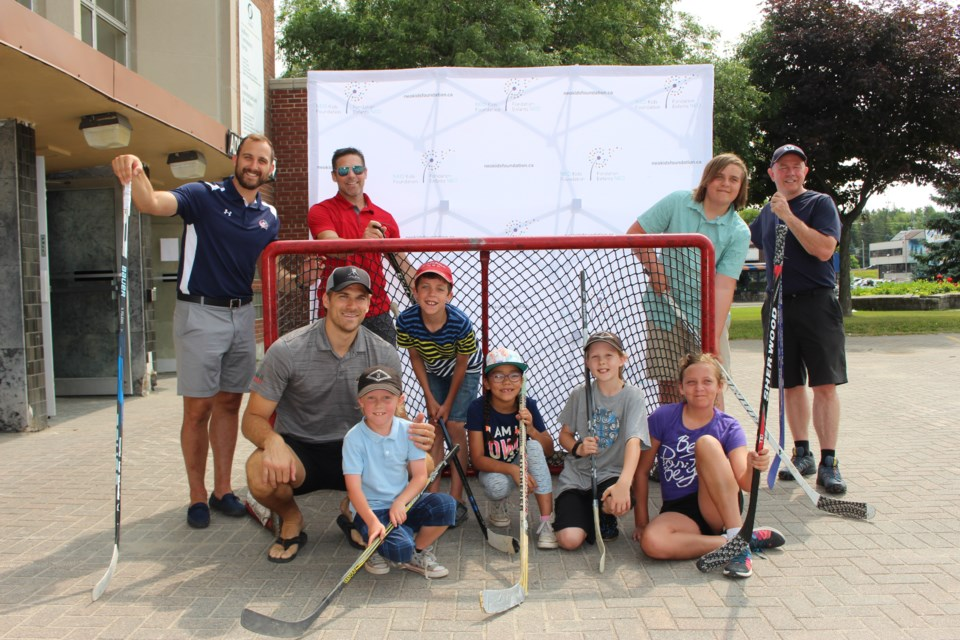 The NHL vs Docs for NEO Kids hockey game is a month away, and the Foligno brothers, Nick and Marcus, hosted a little game of pickup road hockey on Wednesday. (Matt Durnan/Sudbury.com)
