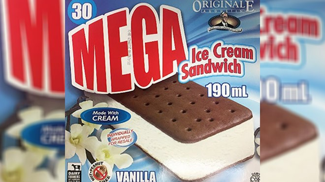 Agropur Cooperative is recalling Iceberg brand and Originale Augustin brand ice cream sandwiches from the marketplace as they may contain fine metal particles.(Supplied)