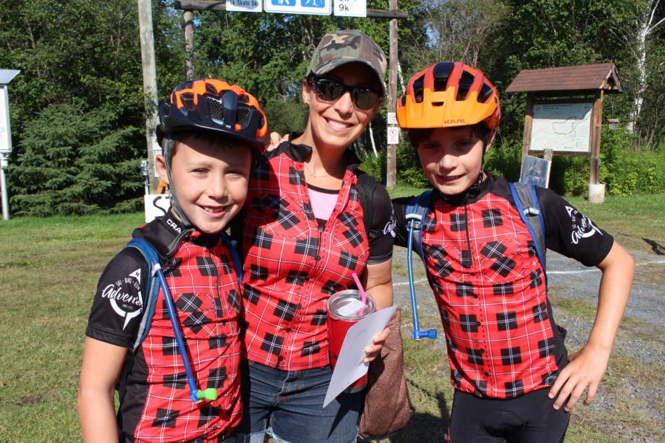 (From the left) Warner, Angele and Graydon Bain, at the Naughton Trail Centre for the 8th annual Ionic Mountain Bike Tour. (Keira Ferguson/ Sudbury.com)