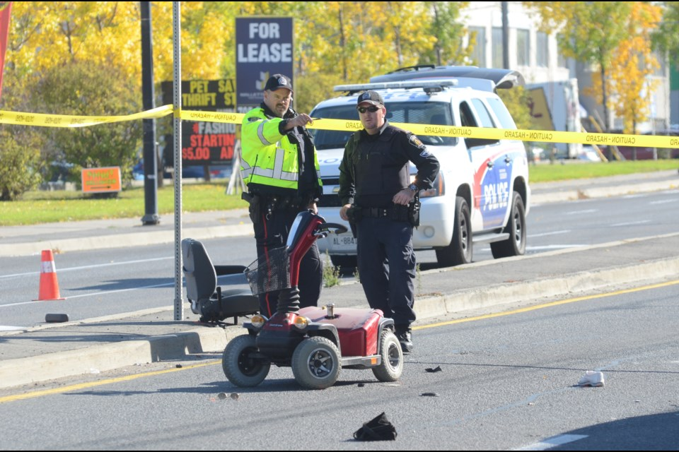 The Greater Sudbury Police Service is currently at the scene of a serious motor vehicle/pedestrian collision on Notre Dame Avenue at King Street. Photo: Arron Pickard