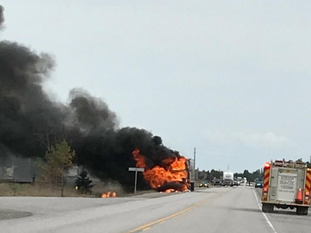 Ontario Provincial Police and emergency services vehicles responded to a tractor trailer fire on Highway 17 near Warren on May 9.