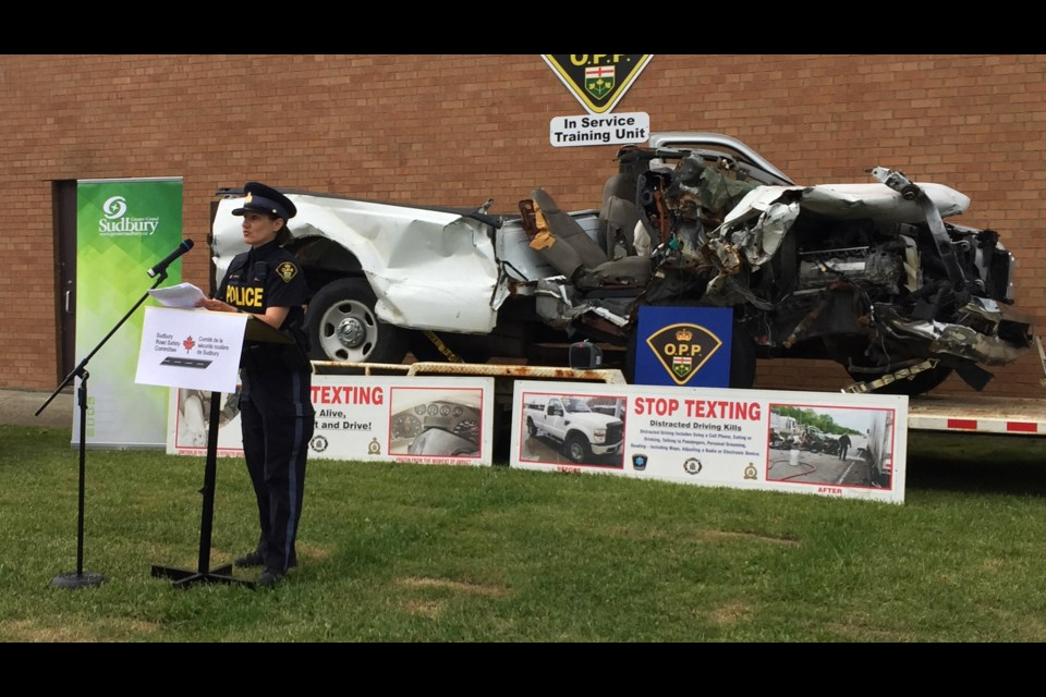 OPP community safety officer Carmel McDonald talked about the importance of staying attentive while driving during a campaign launch for by the Sudbury Road Safety Committee. (Heather Green-Oliver/Sudbury.com)