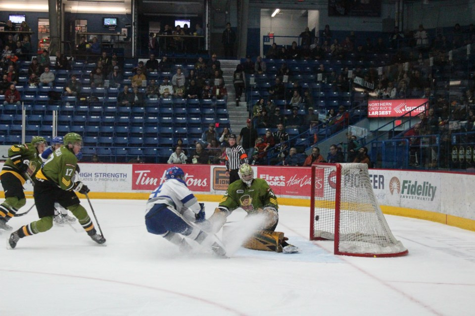 The Sudbury Wolves wrapped up their two-game weekend homestand with a 4-3 win over the North Bay Battalion on Sunday. (Keira Ferguson/Sudbury.com)