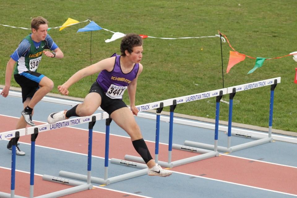 Ethan Shoup of Lo-Ellen Park Secondary School competing in the midget boys 100m hurdles (Annie Duncan/Sudbury.com)
