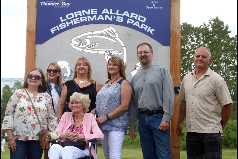 Family of Lorne Allard from left to right Brenda, Michelle, Lorna, Janice, Ross, Brent, and Jean Allard.