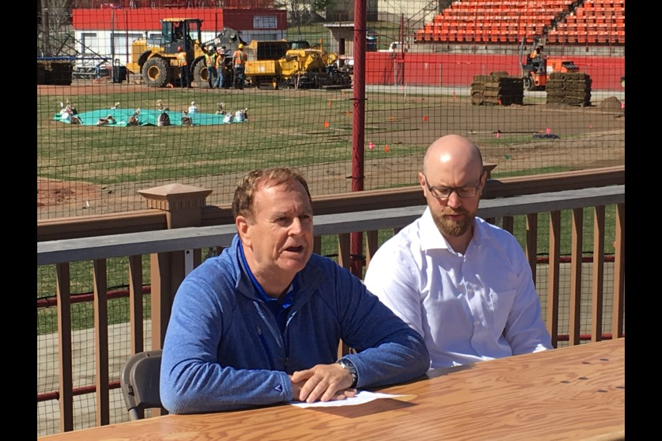 City supervisor of golf and cemeteries Tom Forsythe (left) and Border Cats general manager Dan Grant at a news conference on Friday, May 19, 2015 at Port Arthur Stadium (Leith Dunick, tbnewswatch.com).