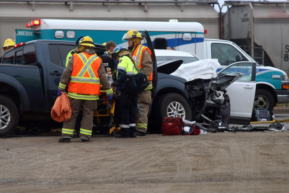 Three people were sent to hopsital following a two vehicle head-on collision on South Water Street. (Photos by Doug Diaczuk - Tbnewswatch.com).