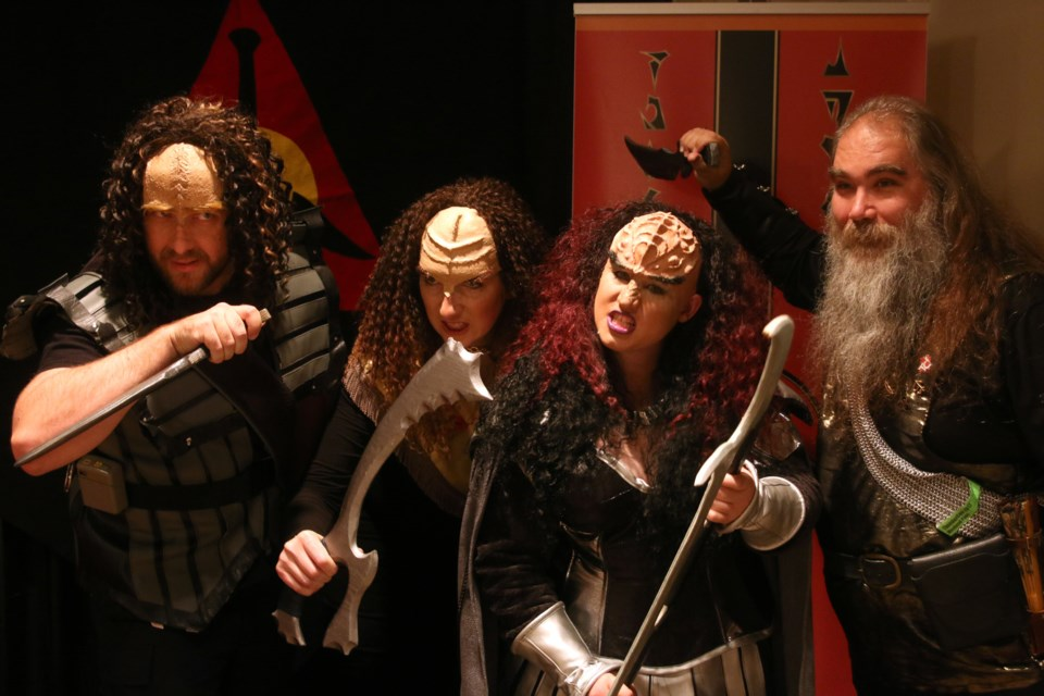 Neil Stephen, Christina Gebbes, Karen Hutchison, and Kris Spiesz made the journey from Timmins to show off their Klingon cosplay during this year's ThunderCon. (Photos by Doug Diaczuk - Tbnewswatch.com).