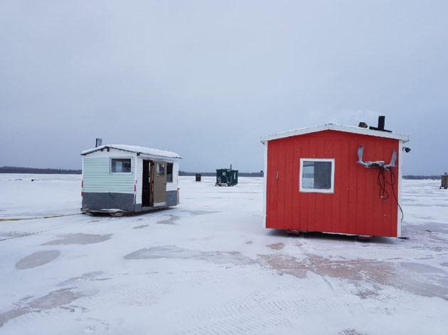 Late ice out predicted for northwestern ontario lakes for Ice fishing huts for sale