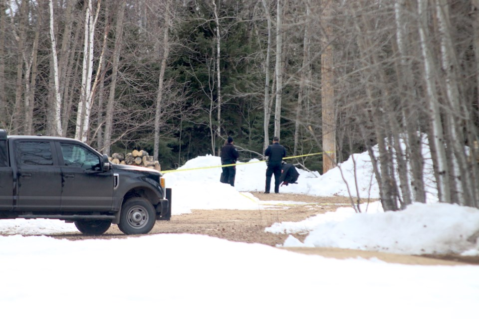 Thunder Bay Police are securing the scene behind the Lakehead University Fieldhouse. (Photos by Doug Diaczuk - Tbnewswatch.com).