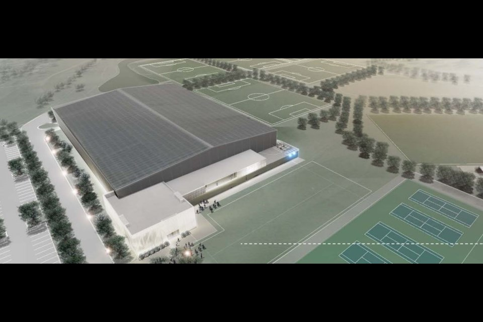 A schematic design of the proposed indoor turf facility at Chapples Park (Stantec/Soccer Northwest Ontario)