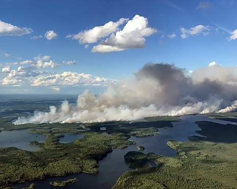 Nipigon District fire # 30 has grown to 6600 hectares, northeast of Nibinamik First Nation (MNRF photo)