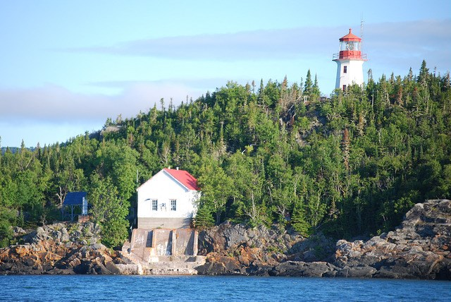 The Trowbridge Island Lighthouse is one of several lighthouses on Lake Superior near Thunder Bay.