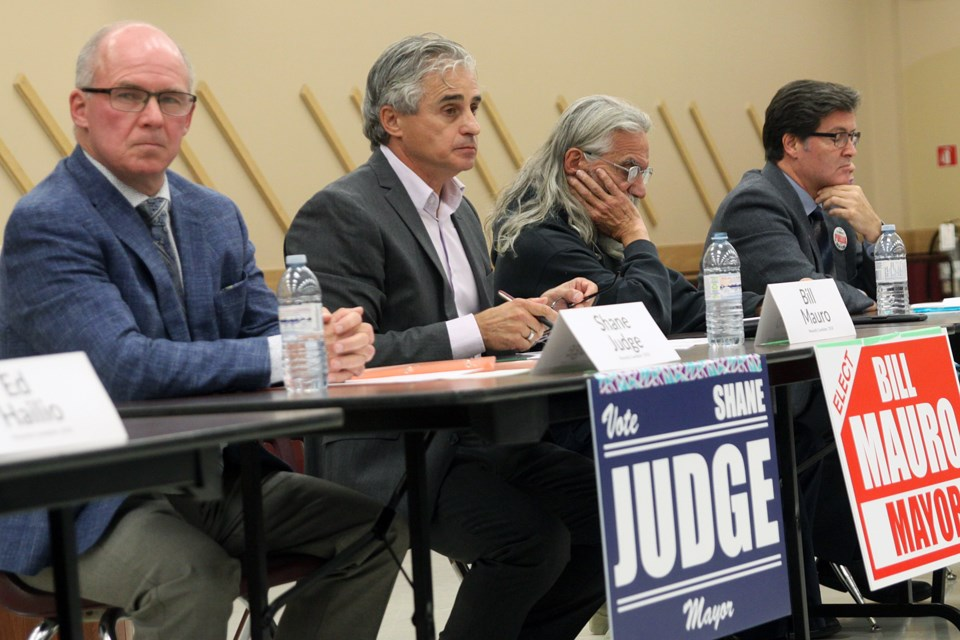 Eight of Thunder Bay's 11 mayoral candidates participated in a public forum at The Moose Hall on Thursday, October 11, 2018. (Matt Vis, tbnewswatch.com)