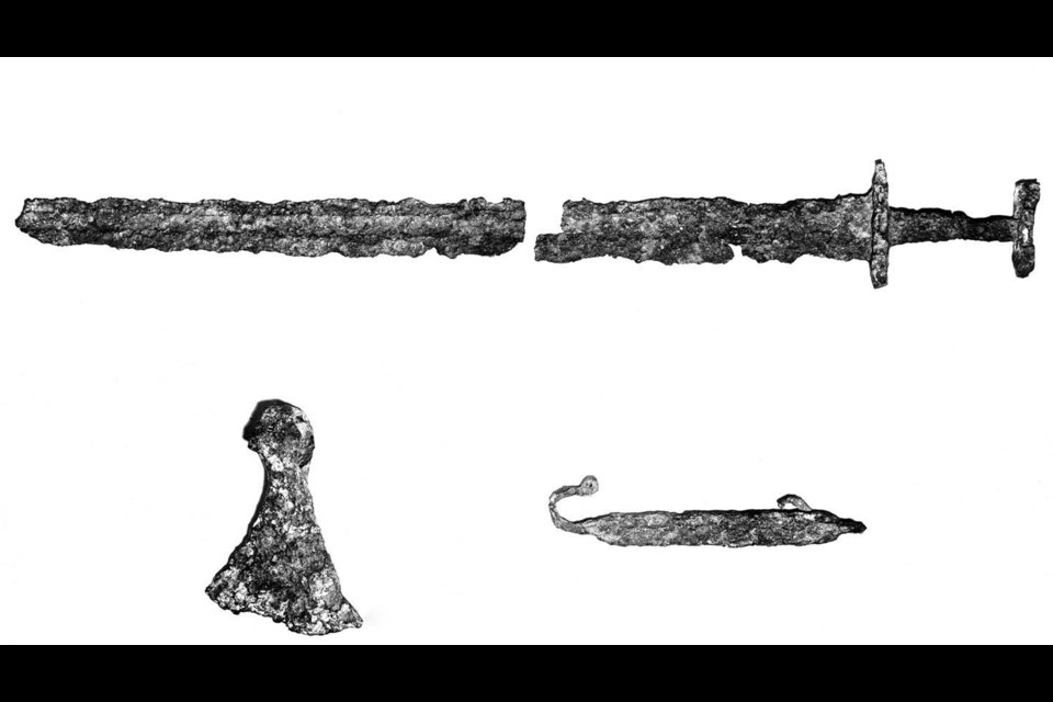 The Viking relics that Eddy Dodd claimed he found in a mining claim near Beardmore in 1931. (Photos courtesy of McGill-Queen's University Press).