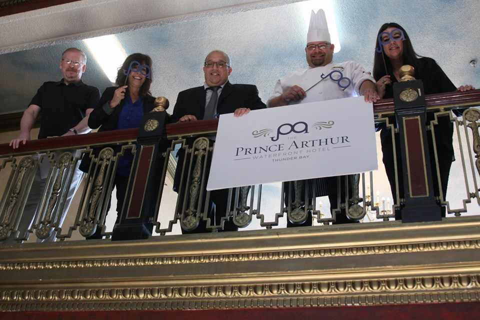 Prince Arthur Waterfront Hotel management and staff show off the hotel's rebranded logo from the mezzanine level balcony on Thursday, September 13, 2018. (Matt Vis, tbnewswatch.com)