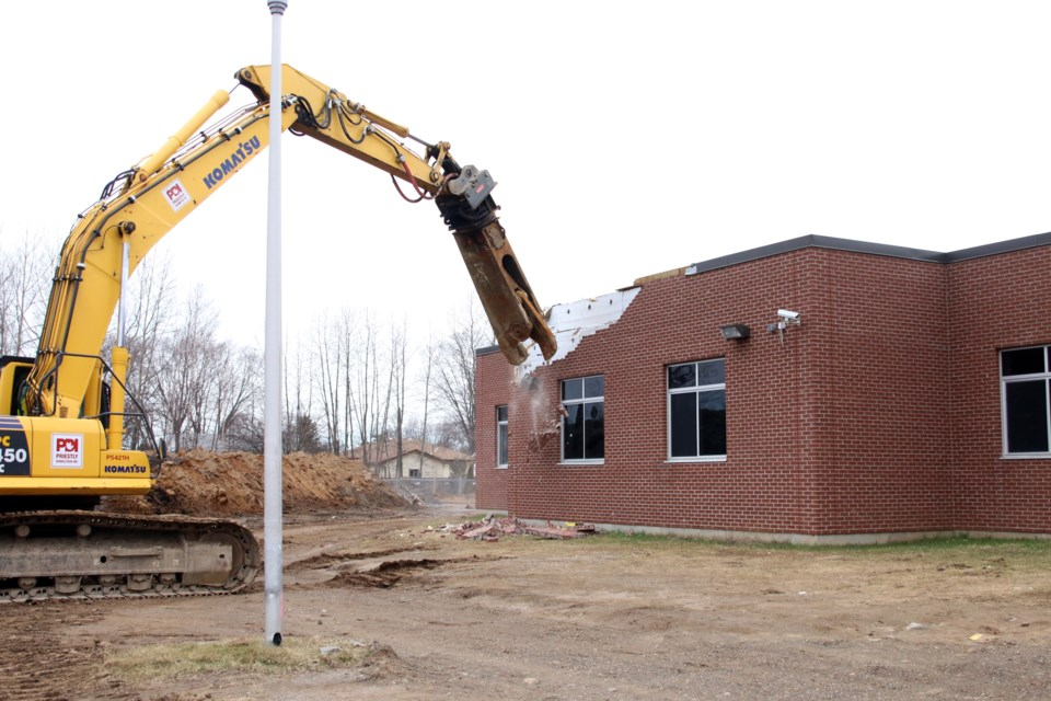 Demolition work on Sir Winston Churchill Collegiate and Vocational Institute began on Monday. (Photos by Doug Diaczuk - Tbnewswatch.com).