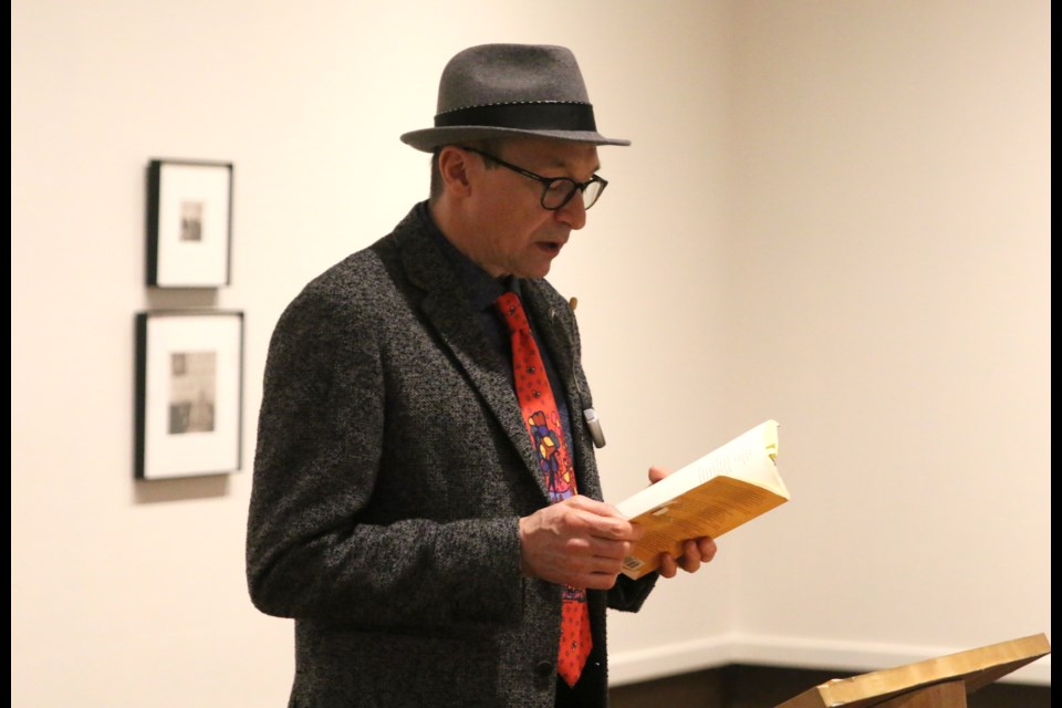 Author Arman Ruffo reads from his book, Norval Morrisseau: Man Changing into Thunderbird, at the Thunder Bay Art Gallery. (Photos by Doug Diaczuk - Tbnewswatch.com).