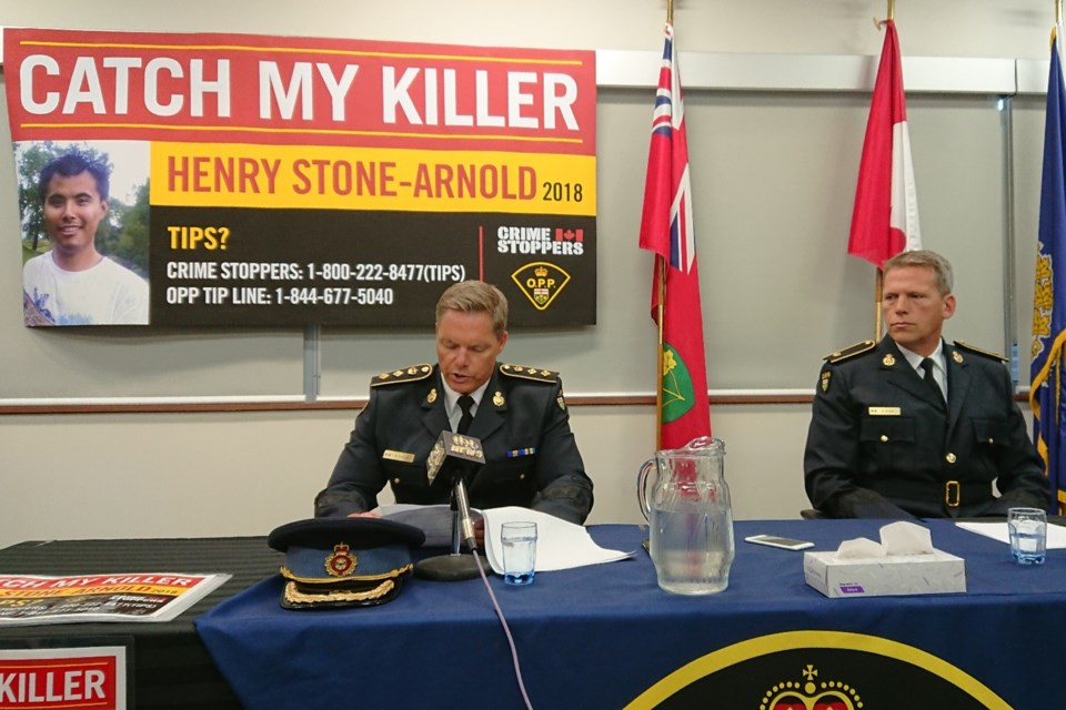 Dryden OPP updating the public at a press conference on Thursday. (Adam Riley, TBT News)
