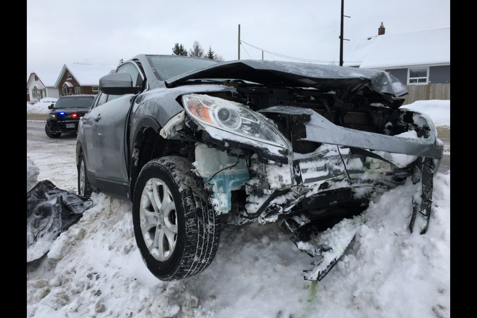 Two vehicles were involved in a crash at the intersection of May and Ogden streets on Friday, January 11, 2019. (Leith Dunick, tbnewswatch.com)
