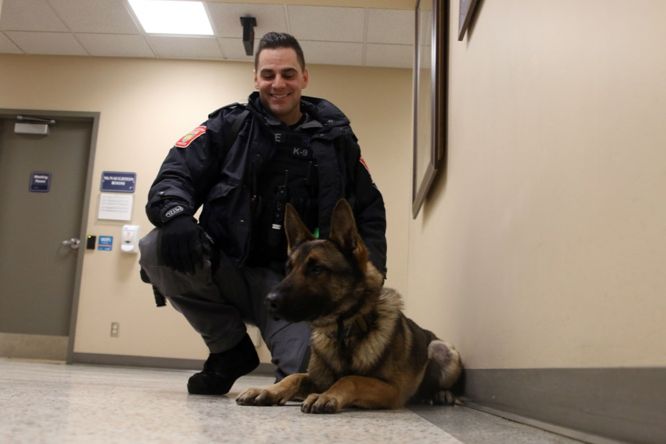 Const. Josh Berube and Lucek are part of the new K-9 Unit with the Thunder Bay Police Service. (Photo by Doug Diaczuk - Tbnewswatch.com).