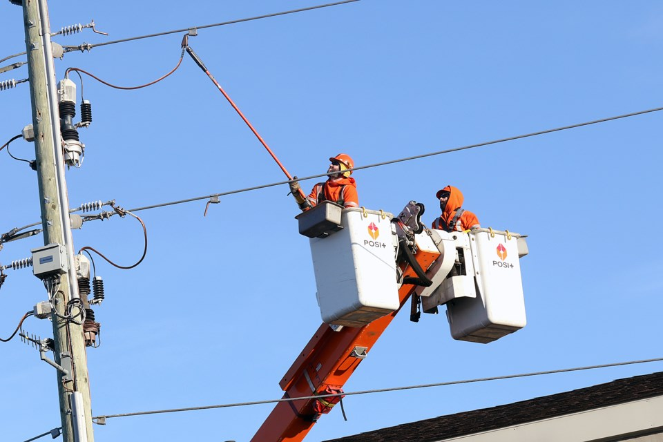 Greater Sudbury Hydro is being assisted by crews and equipment from Sault Ste. Marie PUC, North Bay Hydro and Lakeland Power to get power restored to customers in New Sudbury affected by yesterday's storm. (File)