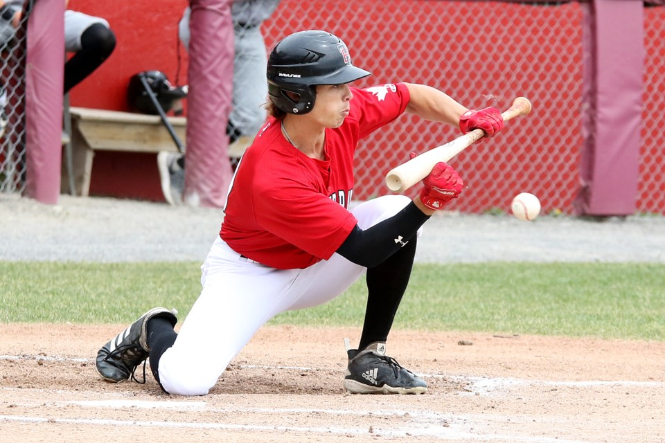 Thunder Bay's Conor Allard lays down a bunt on Sunday, June 23, 2019. (Leith Dunick, tbnewswatch.com)