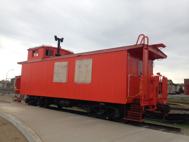 partially restored caboose