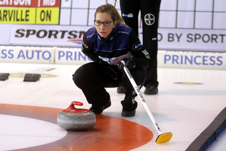Skip Krista McCarville watches a shot during first end play on Wednesday, Nov. 7, 2018 at the Tournament Centre during the Pinty's Grand Slam of Curling Tour Challenge. (Leith Dunick, tbnewswatch.com)