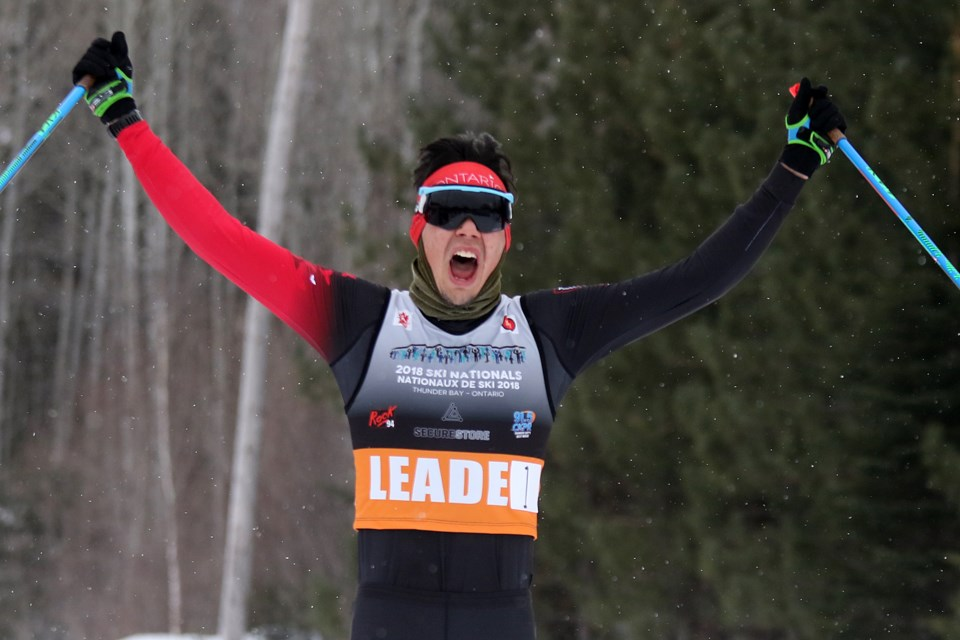 Thunder Bay's Kai Meekis celebrates capturing his second goal of the 2018 Ski Nationals at Lappe Nordic Ski Centre on Tuesday, March 13, 2018. (Leith Dunick, tbnewswatch.com)