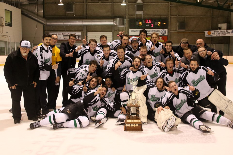 The host Thunder Bay Northern Hawks captured the Keystone Cup, a first for a local team since the 1999 Fort William Canadiens, taking home the title on Sunday, April 22, 2018 at the Tournament Centre. (Leith Dunick, tbnewswatch.com)