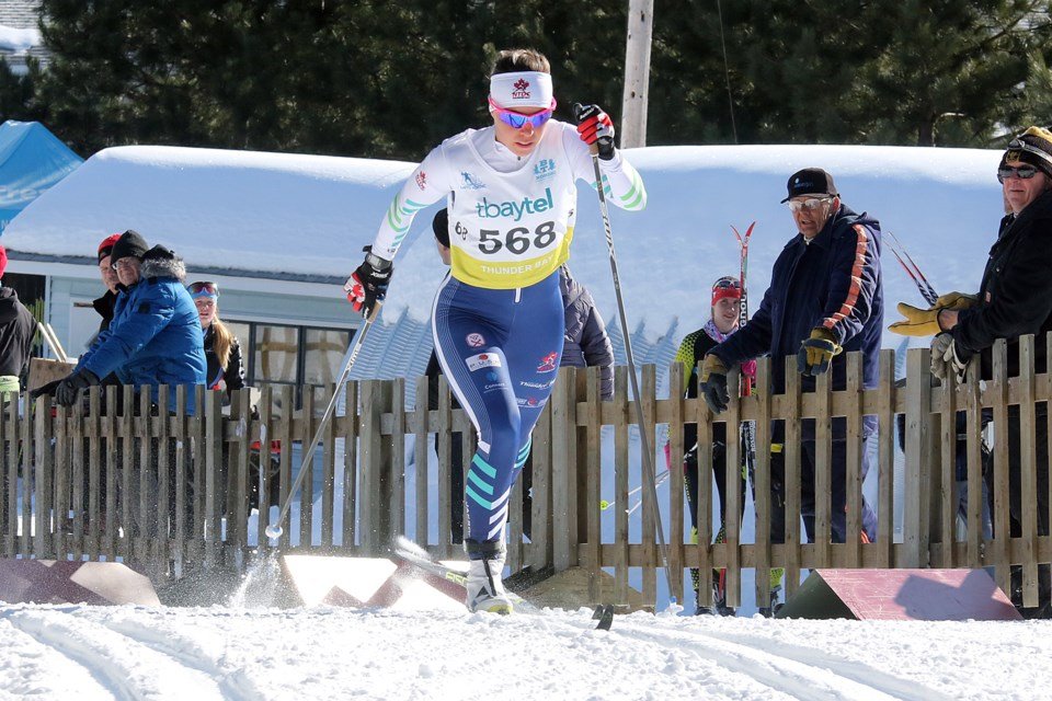 Katherine Stewart-Jones of the National Team Development Centre-Thunder Bay squad took the silver medal in the senior women's five-kilometre classic race at the 2018 Ski Nationals on Sunday, March 11, 2018 at Lappe Nordic Ski Centre. (Leith Dunick, tbnewswatch.com)