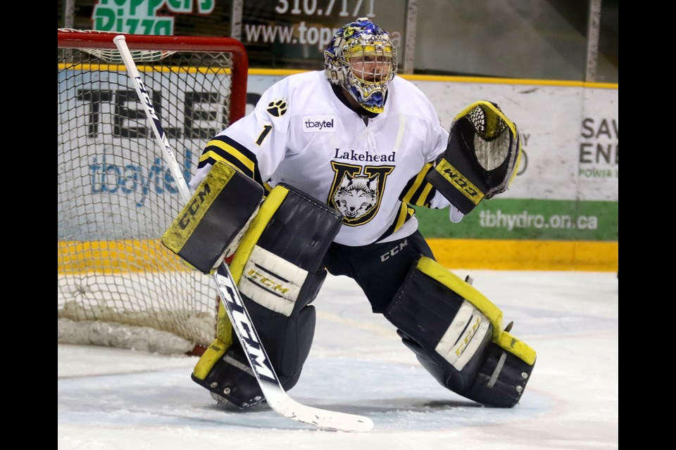 Lakehead goaltender Justin McDonald on Saturday, Feb. 10, 2018 at Fort William Gardens. (Leith Dunick, tbnewswatch.com).