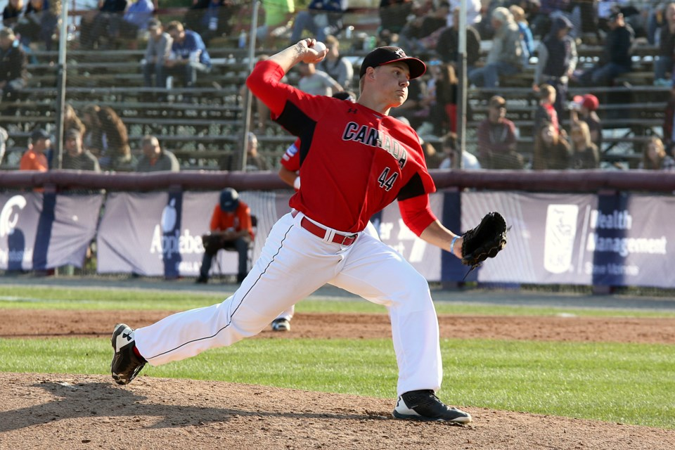 Michael Stovman went eight strong for Canada against Cuba on Saturday, Sept. 9, 2017, allowing two runs on seven hits (Leith Dunick, tbnewswatch.com).