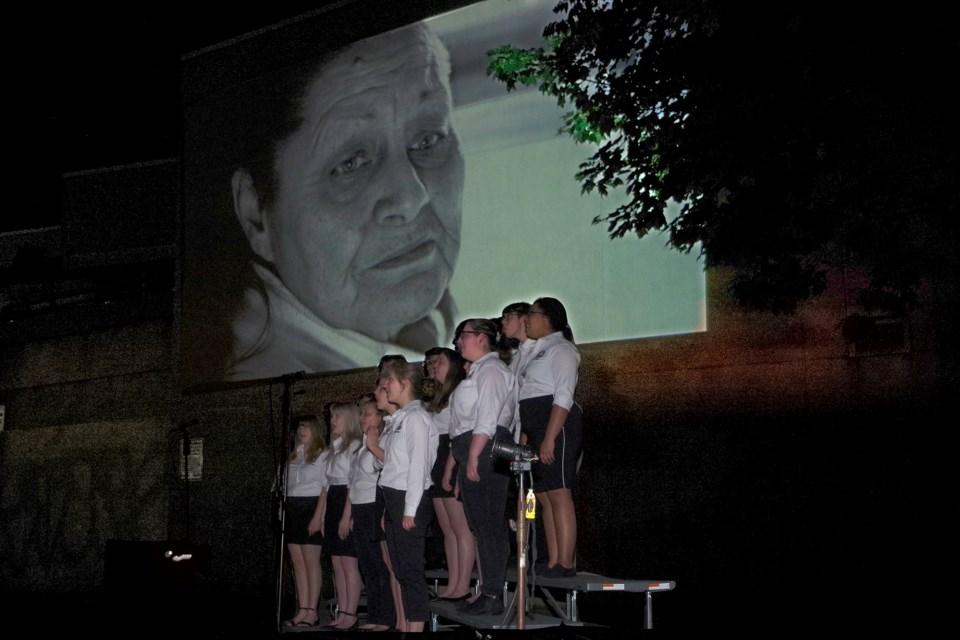Video played while choir performed original score from Josh Kalogerakos. Bob Liddycoat / Thorold News